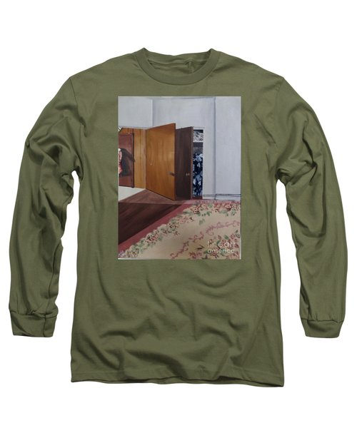 Long Sleeve T-Shirt featuring the painting Closet Doors by Lyric Lucas