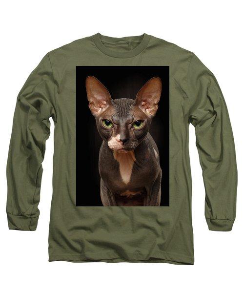 Closeup Portrait Of Grumpy Sphynx Cat Front View On Black  Long Sleeve T-Shirt by Sergey Taran