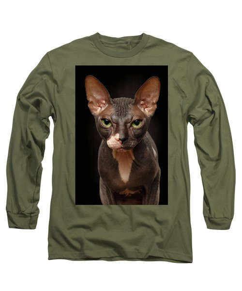 Closeup Portrait Of Grumpy Sphynx Cat Front View On Black  Long Sleeve T-Shirt