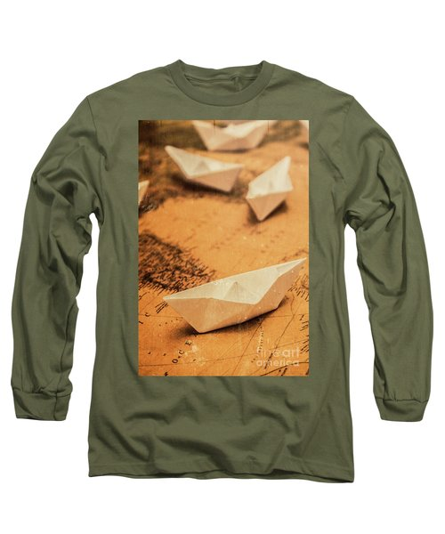 Closeup Toned Image Of Paper Boats On World Map Long Sleeve T-Shirt