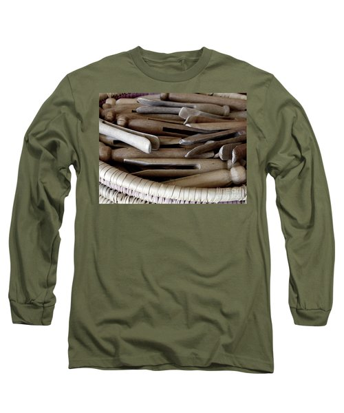Long Sleeve T-Shirt featuring the photograph Clothes-pins by Lainie Wrightson