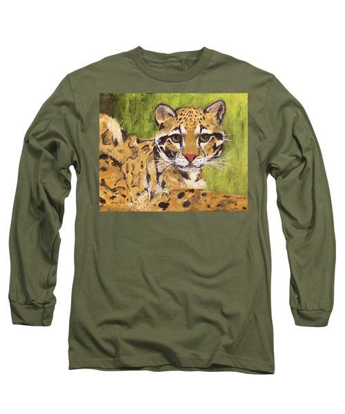 Long Sleeve T-Shirt featuring the painting Clouded Cat by Jamie Frier