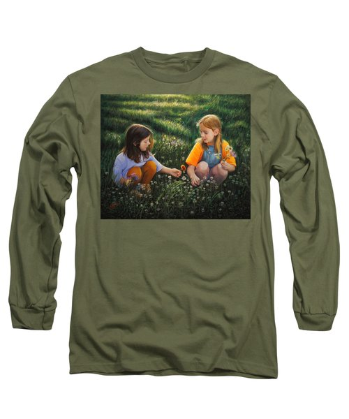 Long Sleeve T-Shirt featuring the painting Clover Field Surprise by Glenn Beasley