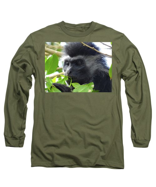 Colobus Monkey Eating Leaves In A Tree Close Up Long Sleeve T-Shirt