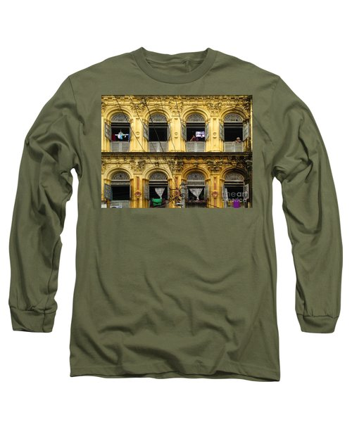 Colonial Facade Bo Soon Pat Street 8th Ward Central Yangon Burma Long Sleeve T-Shirt