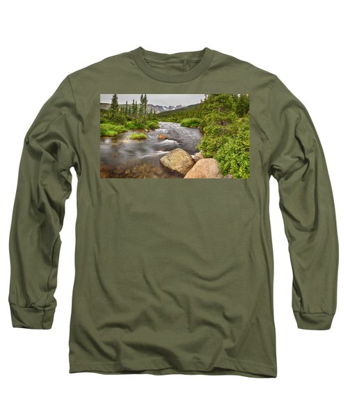Colorado Indian Peaks Wilderness Creek Panorama Long Sleeve T-Shirt