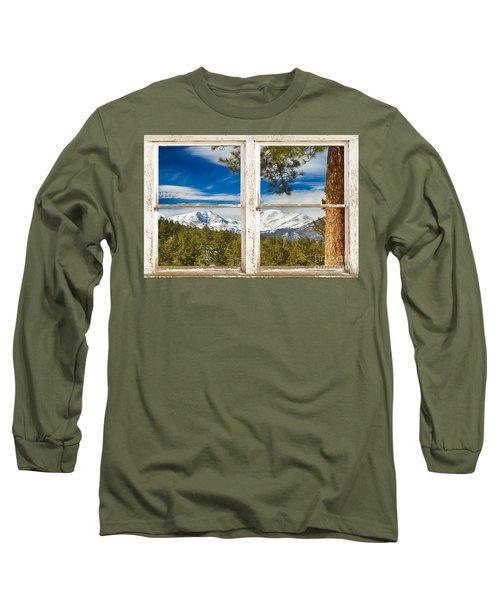 Colorado Rocky Mountain Rustic Window View Long Sleeve T-Shirt