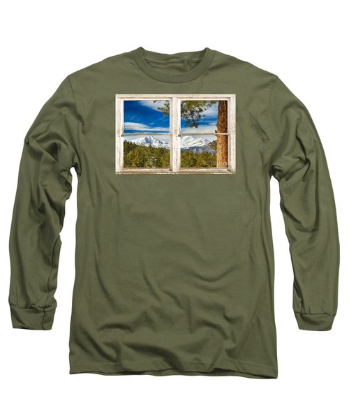 Colorado Rocky Mountain Rustic Window View Long Sleeve T-Shirt