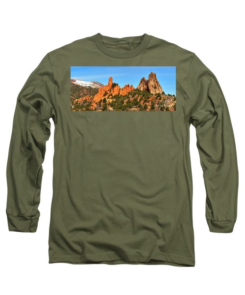 Long Sleeve T-Shirt featuring the photograph Colorado Springs Garden Of The Gods High Point Panorama by Adam Jewell