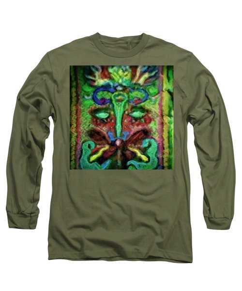 Long Sleeve T-Shirt featuring the painting Colorful Abstract Painting Swirls And Dabs And Dots With Hidden Meaning And Secret Stories Of Birds  by MendyZ
