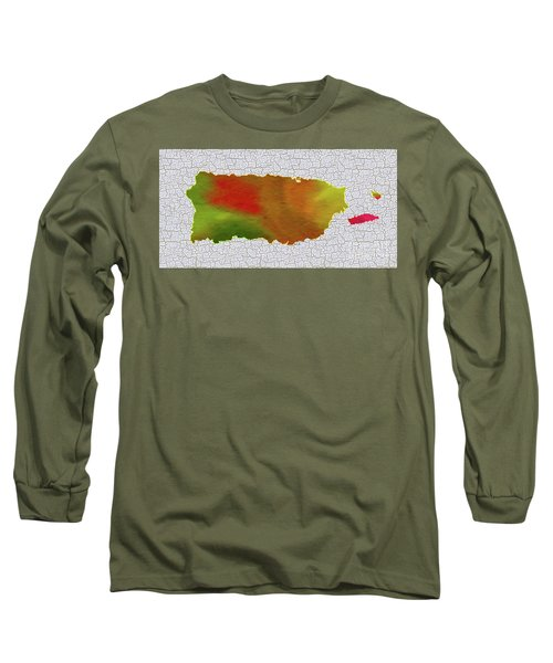 Colorful Art Puerto Rico Map Long Sleeve T-Shirt by Saribelle Rodriguez