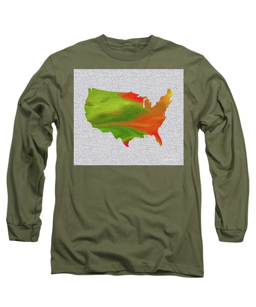 Colorful Art Usa Map Long Sleeve T-Shirt by Saribelle Rodriguez
