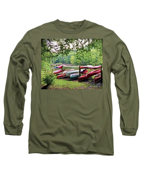 Colorful Canoes At Hungry Mother State Park Long Sleeve T-Shirt