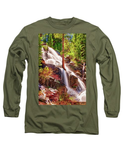 Colorful Cascade Waterfall On Tioga Pass Ap Long Sleeve T-Shirt