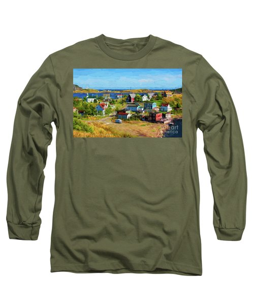 Colorful Homes In Trinity, Newfoundland - Painterly Long Sleeve T-Shirt