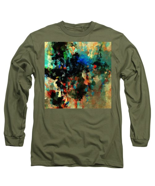 Colorful Landscape / Cityscape Abstract Painting Long Sleeve T-Shirt by Ayse Deniz