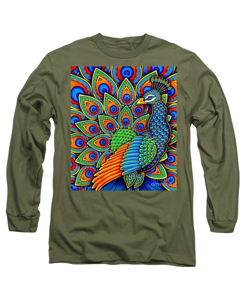 Colorful Paisley Peacock Long Sleeve T-Shirt