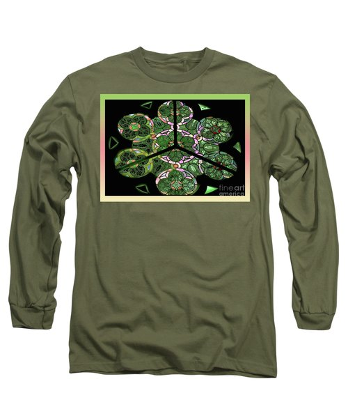 Colorful Rosette In Pink-green Long Sleeve T-Shirt