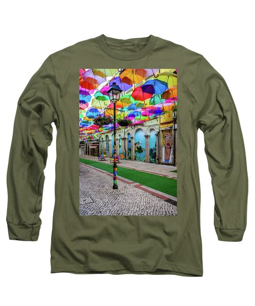 Colorful Street Long Sleeve T-Shirt by Marco Oliveira