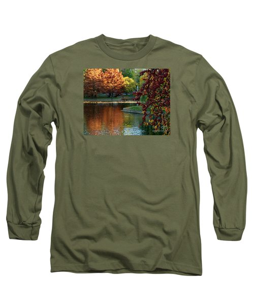 Long Sleeve T-Shirt featuring the photograph Colorful Trees Boston by Haleh Mahbod