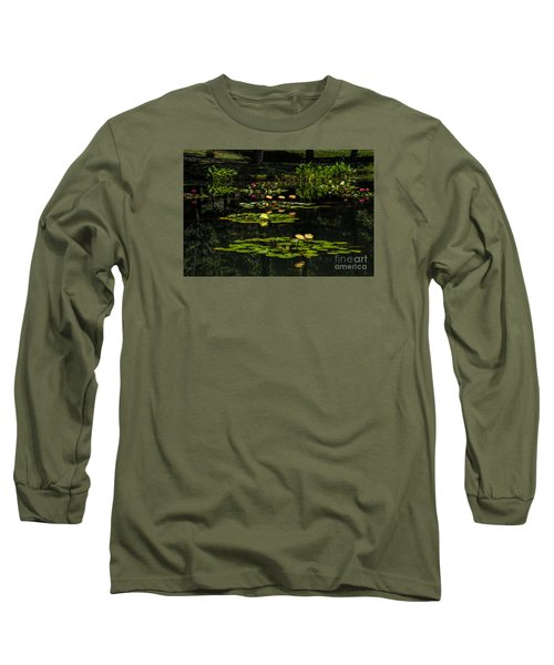 Colorful Waterlily Pond Long Sleeve T-Shirt by Barbara Bowen