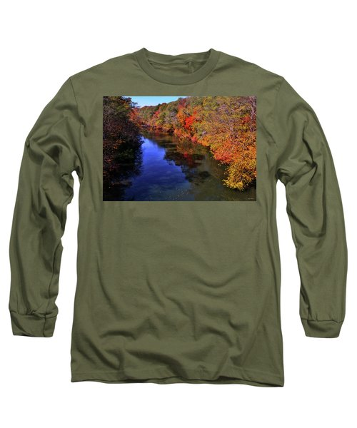 Colors Of Nature - Fall River Reflections 001 Long Sleeve T-Shirt by George Bostian