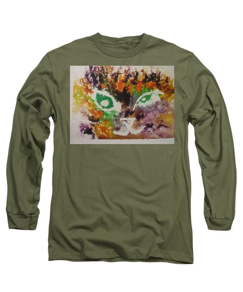 Colourful Cat Face Long Sleeve T-Shirt by AJ Brown