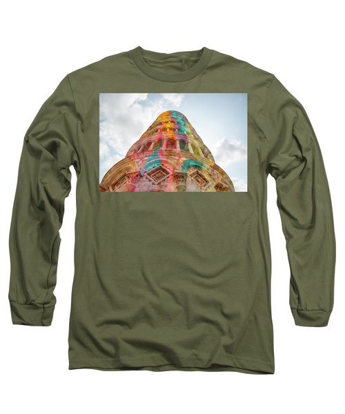 Long Sleeve T-Shirt featuring the mixed media Colourful Leaning Tower Of Pisa by Clare Bambers