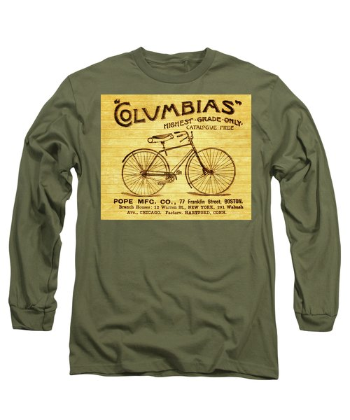 Long Sleeve T-Shirt featuring the mixed media Columbia Bicycle Vintage Poster On Wood by Dan Sproul