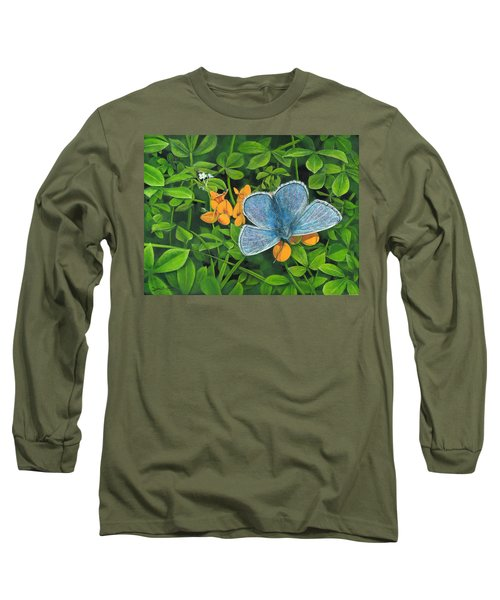 Common Blue On Bird's-foot Trefoil Long Sleeve T-Shirt