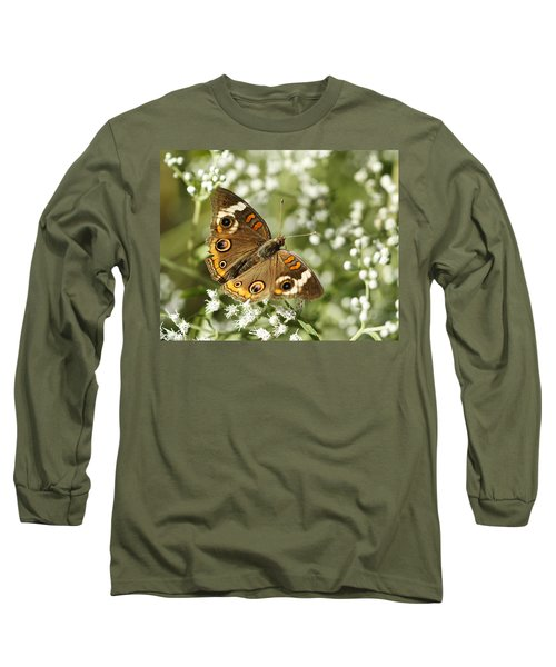 Common Buckeye Butterfly On White Thoroughwort Wildflowers Long Sleeve T-Shirt