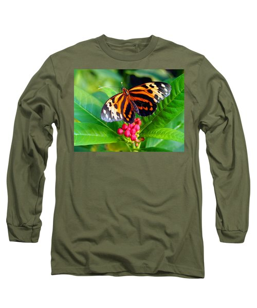 Common Tiger Glassywing Butterfly Long Sleeve T-Shirt by Amy McDaniel