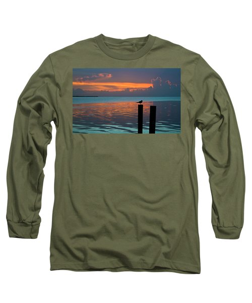 Conch Key Sunset Bird On Piling Long Sleeve T-Shirt