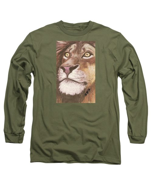 Concrete Lion Long Sleeve T-Shirt by George I Perez