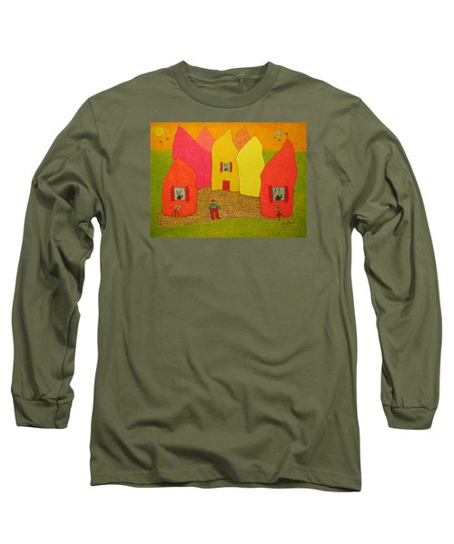 Cone-shaped Houses Man With Dog Long Sleeve T-Shirt