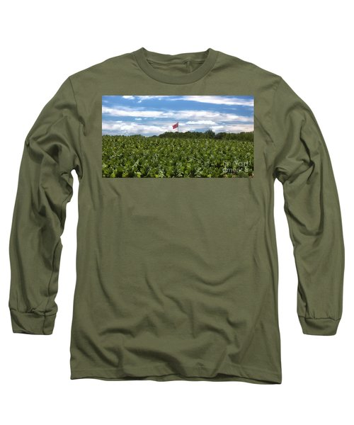 Confederate Flag In Tobacco Field Long Sleeve T-Shirt
