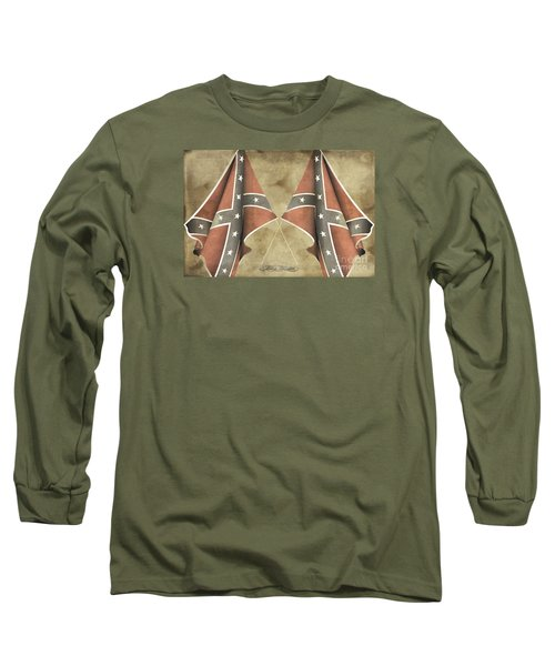 Long Sleeve T-Shirt featuring the digital art Confederate Flags by Melissa Messick