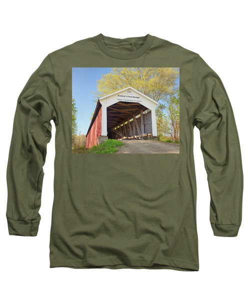 Long Sleeve T-Shirt featuring the photograph Conley's Ford Covered Bridge by Harold Rau