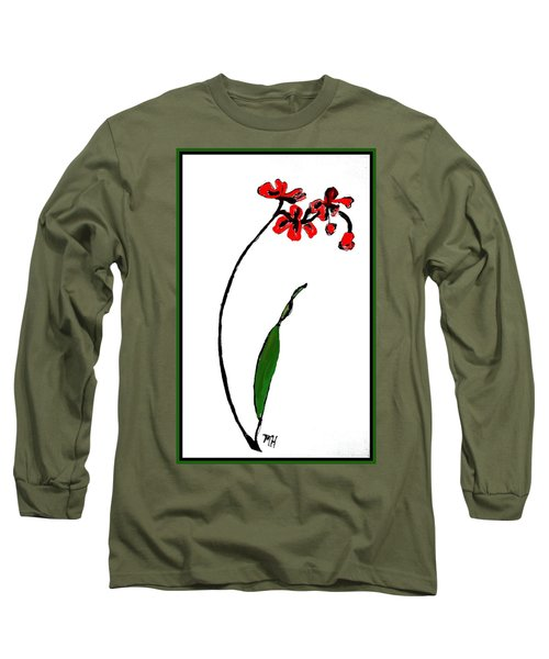 Long Sleeve T-Shirt featuring the painting Contemporary Orchids by Marsha Heiken