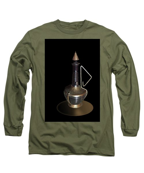 Copper And Black Wine Server Long Sleeve T-Shirt by Judy Johnson