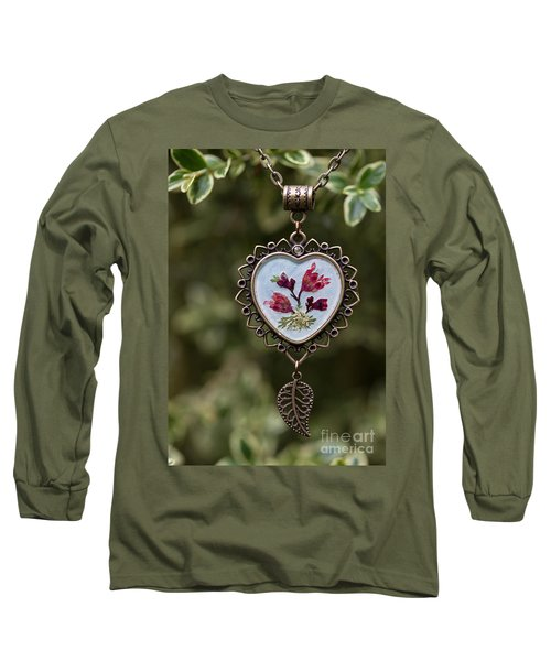 Coral Bell Pressed Flower Pendant Long Sleeve T-Shirt