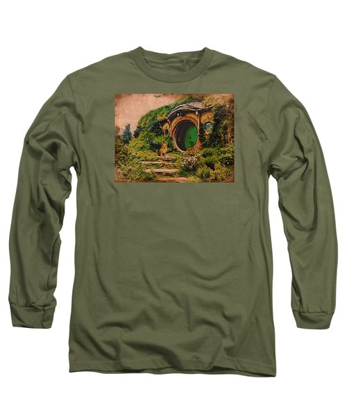Long Sleeve T-Shirt featuring the digital art Corgi At Hobbiton by Kathy Kelly