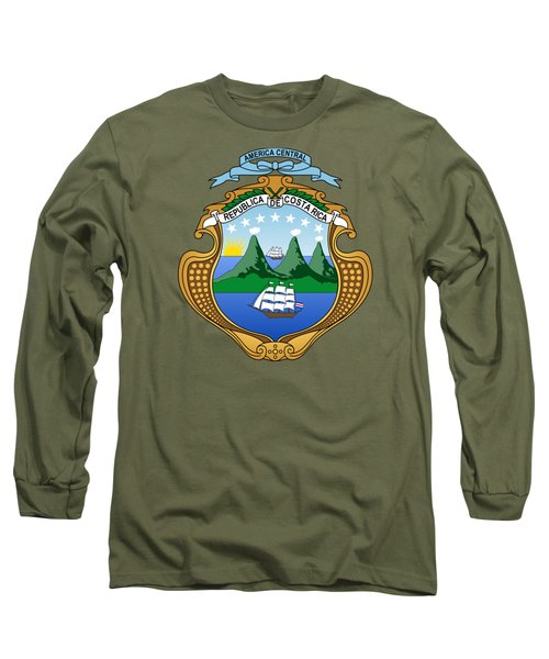 Long Sleeve T-Shirt featuring the drawing Costa Rica Coat Of Arms by Movie Poster Prints