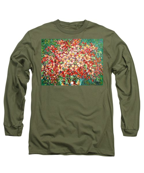 Long Sleeve T-Shirt featuring the painting Cottage Garden Flowers by Natalie Holland