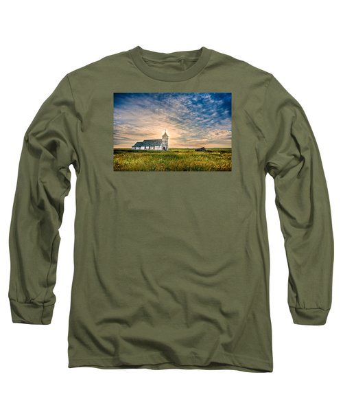Country Church Sunrise Long Sleeve T-Shirt by Rikk Flohr