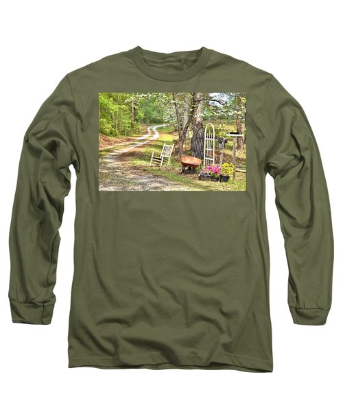 Country Driveway In Springtime Long Sleeve T-Shirt