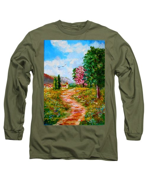 Country Pathway In Greece Long Sleeve T-Shirt