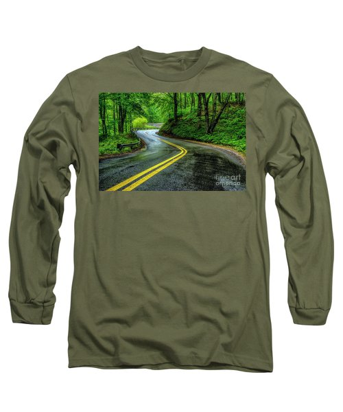 Country Road In Spring Rain Long Sleeve T-Shirt