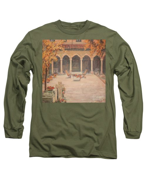 Courtyard Of Stravopoleos Church Long Sleeve T-Shirt by Olimpia - Hinamatsuri Barbu