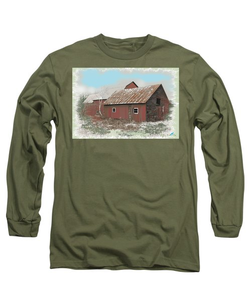 Long Sleeve T-Shirt featuring the digital art Coventry Barn by John Selmer Sr